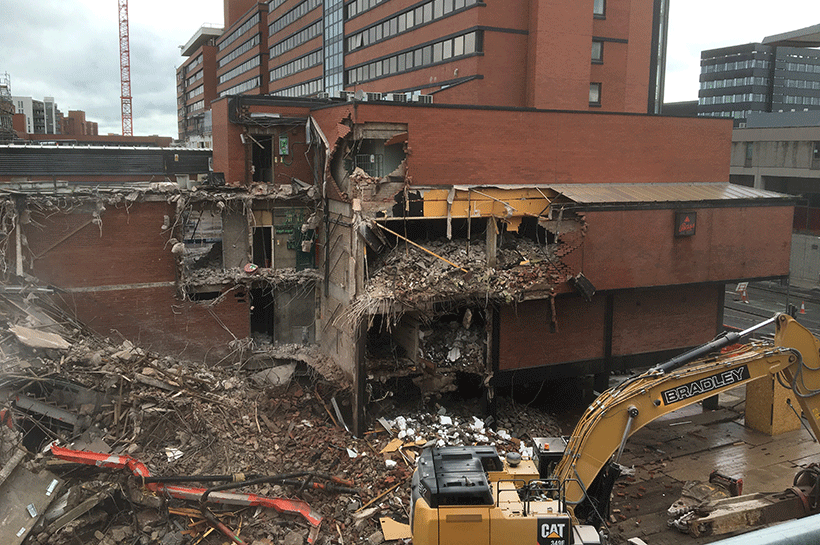 Demolishing the Oxford Road bridge, 2015