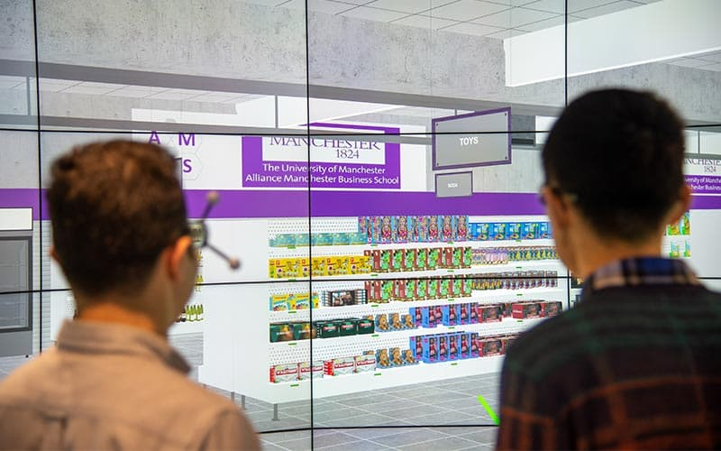 Students experimenting on the Data Visualisation Observatory's virtual supermarket