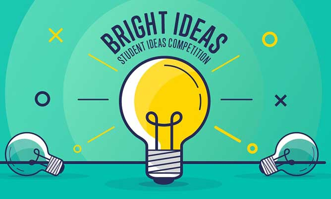Yellow lightbulb on green background with Bright Ideas written at the top