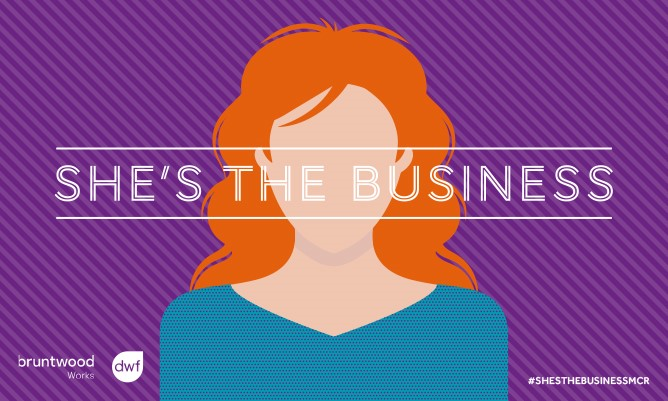 Vector image of a woman on a purple background with She's The Business branding