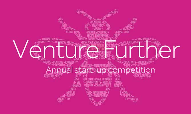 Venture Further logo on pink background