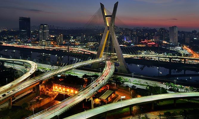 Octavio Frias de Oliveira Bridge at dusk - Sao Paulo, Brazil