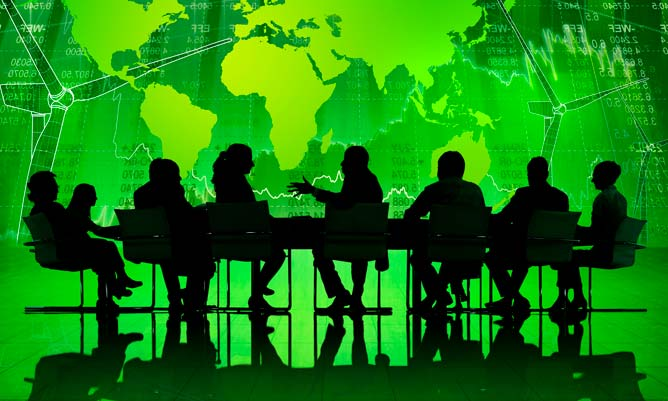 business discussion on green background showing a map