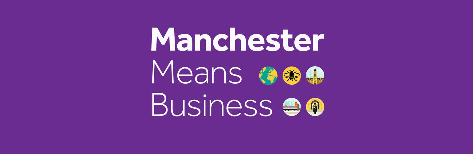 Manchester Means Business text with icons
