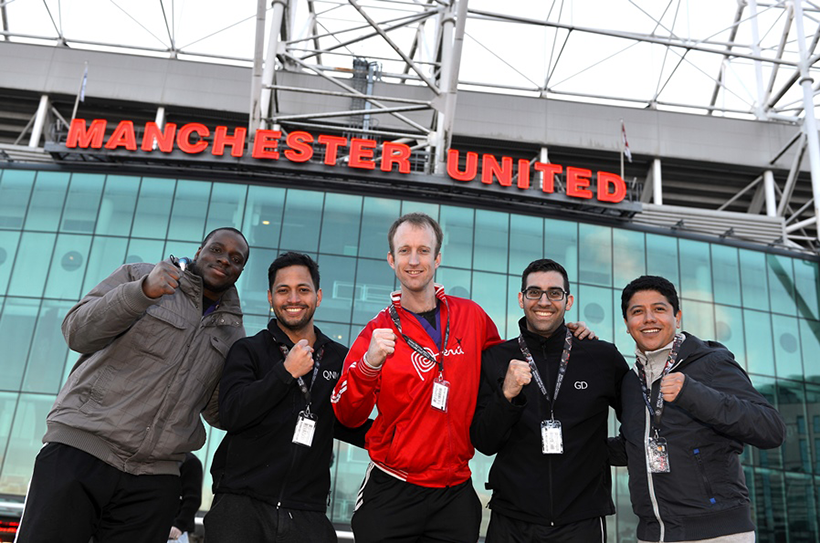 Students at Old Trafford