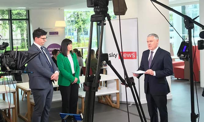 Ian King Sky News live broadcast from Alliance MBS