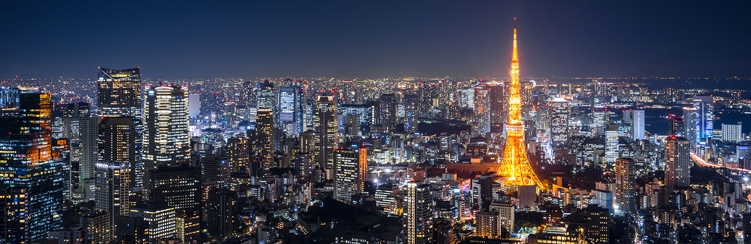 The Tokyo skyline, lit up at night and seen from above.