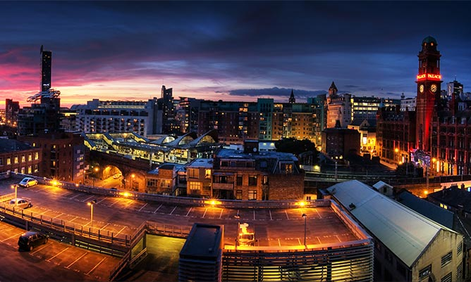 cityscape of manchester at night