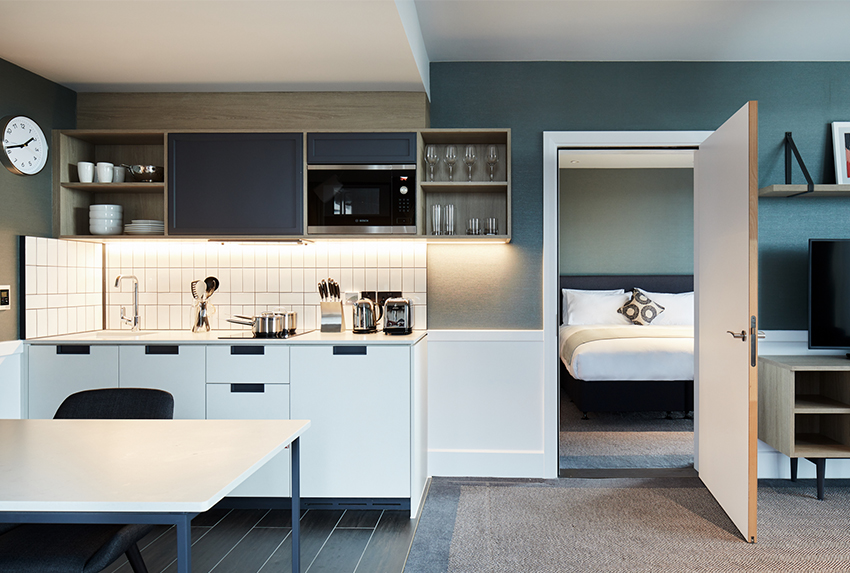 The Kitchenette and bedroom at Hyatt House Manchester