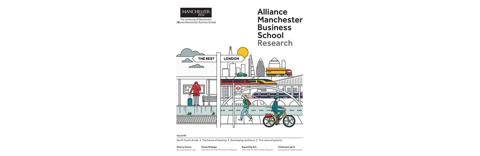 cover illustration of issue 6 of Alliance Manchester Business School's research magazine showing the inequality between London and the rest of the UK