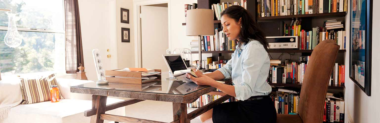 a businesswoman working from home office