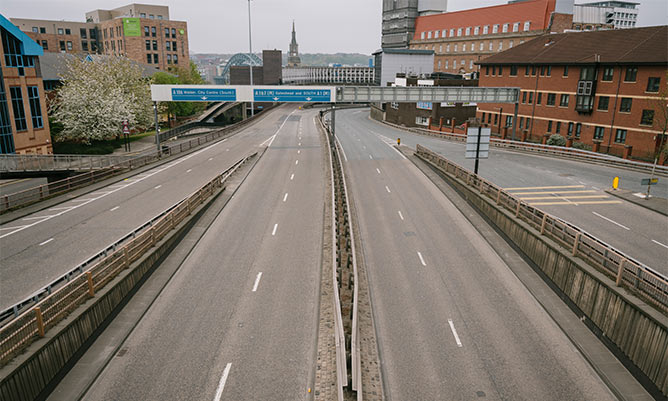 empty motorway in Newcastle