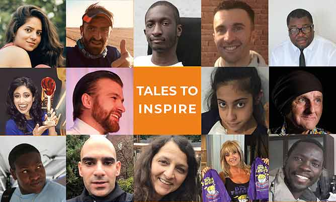 Orange square containing the words 'Tales To Inspire' surrounded by people's faces