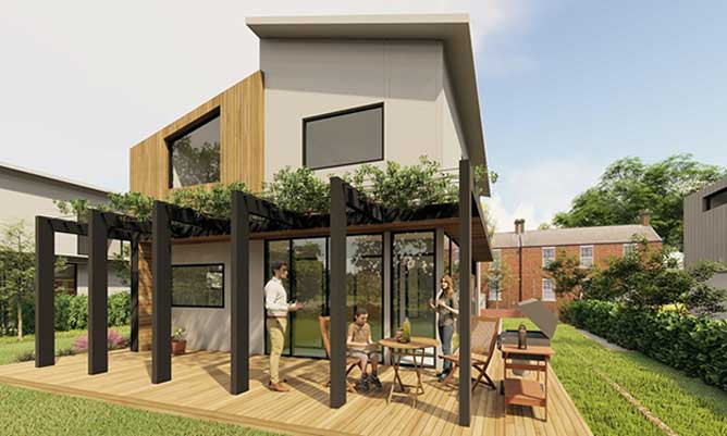 CGI of modular sustainable house