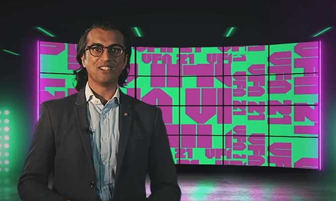 A screengrab of Vikas Shah hosting the Venture Further Awards