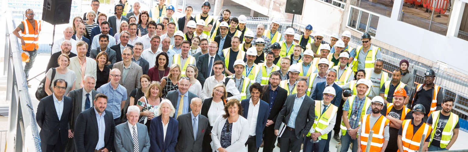 Alliance MBS hotel's topping out at the University of Manchester's £1billion campus redevelopment